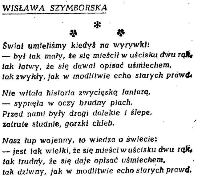 Wisławy Szymborskiej Debiut à Rebours